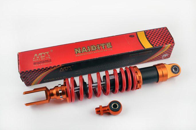 Амортизатор универсальный (+ переходник)   350mm, тюнинговый   (оранжево-красный)   NDT