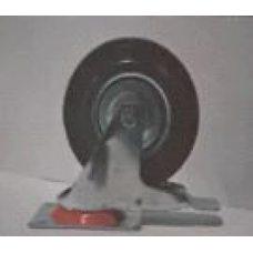 Купить Колесо для тачек и платформ (литая резина) (в сборе с креплением и тормозом, поворотное)   (125/37,5-50mm)   MRHD в Интернет-Магазине LIMOTO