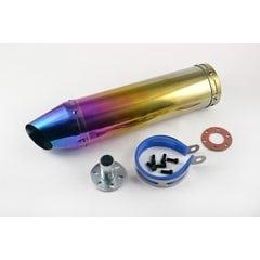 Глушитель (тюнинг)   300*90mm, креп. Ø48mm   (нержавейка, радуга, прямоток сопло, mod:G-1076)