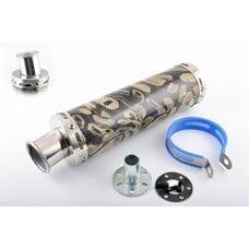 Купить Глушитель (тюнинг)   300*90mm, креп. Ø48mm   (нержавейка, змеиная кожа, прямоток, тип:1) в Интернет-Магазине LIMOTO