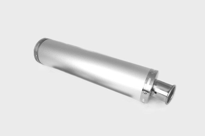 Глушитель (тюнинг)   420*100mm, креп. Ø78mm   (нержавейка, серебро, прямоток, без креплений, mod:57)
