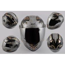 Купить Шлем-интеграл   (mod:B-500) (size:L, черно-серый, зеркальный визор, DARK ANGEL)   BEON в Интернет-Магазине LIMOTO