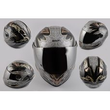Купить Шлем-интеграл   (mod:B-500) (size:XL, черно-серый, зеркальный визор, DARK ANGEL)   BEON в Интернет-Магазине LIMOTO