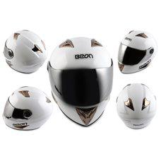 Купить Шлем-интеграл   (mod:B-500) (size:XL, белый, зеркальный визор)   BEON в Интернет-Магазине LIMOTO