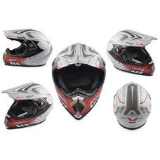 Купить Шлем кроссовый   (mod:B-600) (size:L, бело-красный)   BEON в Интернет-Магазине LIMOTO
