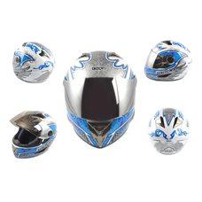 Купить Шлем-интеграл   (mod:B-500) (size:L, бело-синий, зеркальный визор, DARK ANGEL)   BEON в Интернет-Магазине LIMOTO