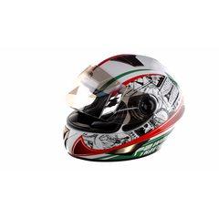 Шлем-интеграл   (mod:B-500) (size:XL, бело-красно-зеленый)   BEON