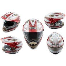 Купить Шлем кроссовый   (mod:GS-14) (с визором, size:XL, бело-красный)   GSB в Интернет-Магазине LIMOTO