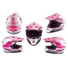 Купить Шлем кроссовый   (mod:MX456) (size:L, бело-розовый)   LS-2 в Интернет-Магазине LIMOTO
