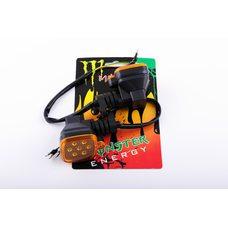 Купить Повороты диодные мини (пара)   квадратные   (черные, желтое стекло, 7 диодов)   XJB в Интернет-Магазине LIMOTO