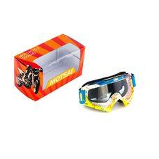 Купить Очки кроссовые   MOTSAI   (желто-синие, синий ремешок, стекло прозрачное) в Интернет-Магазине LIMOTO