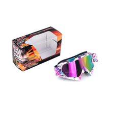 Купить Очки кроссовые   MOTSAI   (бело-лиловые, ремешок бело-лиловый, стекло хамелеон) в Интернет-Магазине LIMOTO