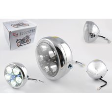 Купить Фара светодиодная круглая (крепеж 165mm, голубая подсветка, металл)   Feili в Интернет-Магазине LIMOTO