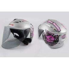 Купить Шлем открытый   (mod:100) (аэроформа, черный визор) (size:L, серебро, PINK PUSSIES)   LS2 в Интернет-Магазине LIMOTO