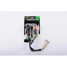 Купить Повороты (пара)   овальные   (черные, белое стекло)   MONSTER ENERGY в Интернет-Магазине LIMOTO