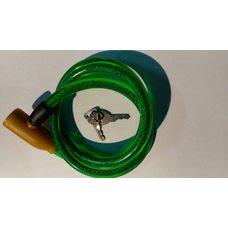 Замок на колесо   (трос 1000*10mm) (с ключом)   (зеленый)   YKX