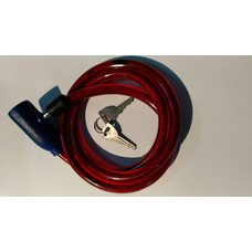 Купить Замок на колесо   (трос 1000*10mm) (с ключом)   (красный)   YKX в Интернет-Магазине LIMOTO