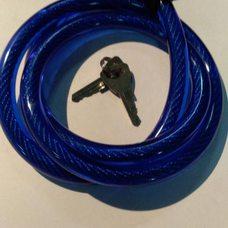 Купить Замок на колесо   (трос 1000*10mm) (с ключом)   (синий)   YKX в Интернет-Магазине LIMOTO