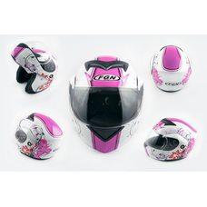 Купить Шлем трансформер   (mod:J) (size:L, белый c узором, FLOWER)   FGN в Интернет-Магазине LIMOTO